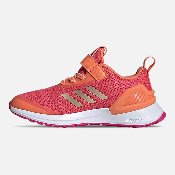 Left view of Little Kids' adidas RapidaRun X Running Shoes in Semi Coral/Copper Metallic/Real Magenta