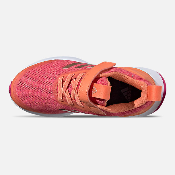 Top view of Little Kids' adidas RapidaRun X Running Shoes in Semi Coral/Copper Metallic/Real Magenta