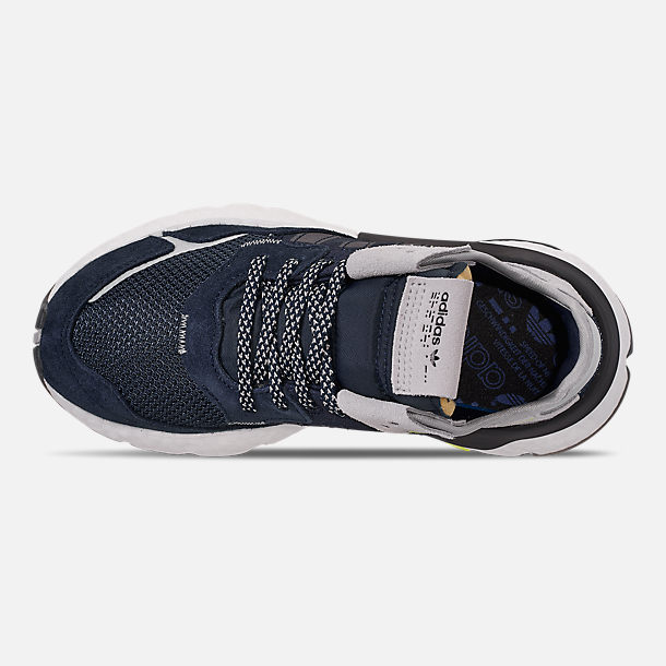 Top view of Big Kids' adidas Originals Nite Jogger Casual Shoes in Navy/Legend Ink/White