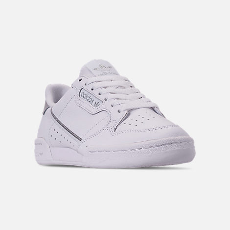 Three Quarter view of Women's adidas Originals Continental 80 Casual Shoes in Cloud White/Cloud White/Silver Metallic