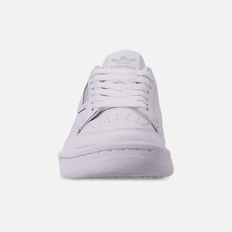 Front view of Women's adidas Originals Continental 80 Casual Shoes in Cloud White/Cloud White/Silver Metallic
