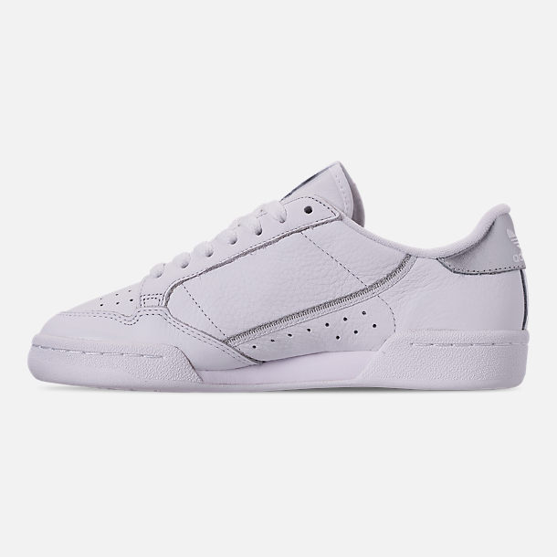 Left view of Women's adidas Originals Continental 80 Casual Shoes in Cloud White/Cloud White/Silver Metallic