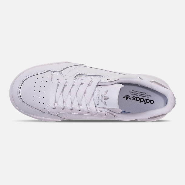 Top view of Women's adidas Originals Continental 80 Casual Shoes in Cloud White/Cloud White/Silver Metallic