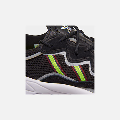 Front view of Women's adidas Originals Ozweego Casual Shoes in Core Black/Solar Green/Onix