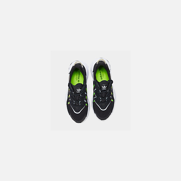 Back view of Women's adidas Originals Ozweego Casual Shoes in Core Black/Solar Green/Onix