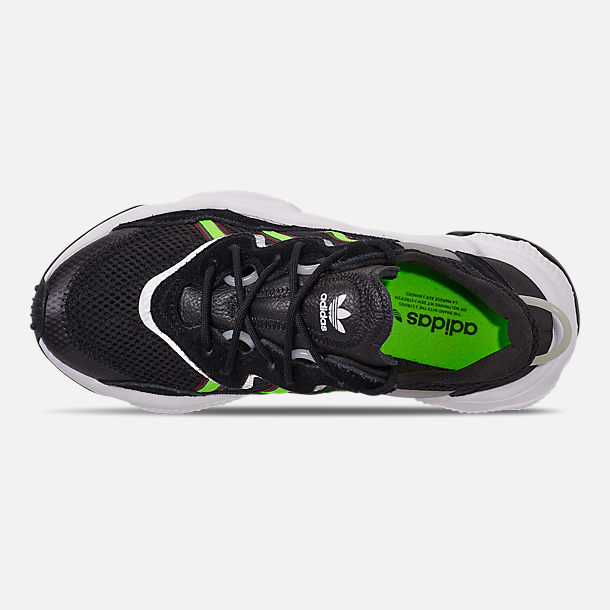 Top view of Women's adidas Originals Ozweego Casual Shoes in Core Black/Solar Green/Onix