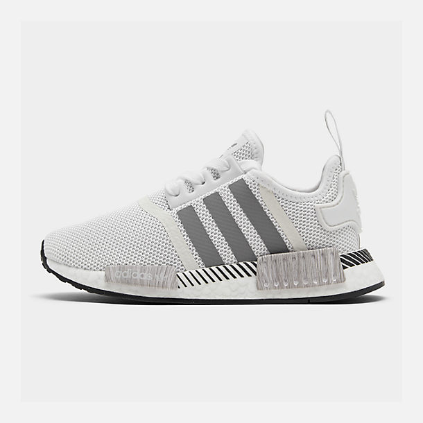 Right view of Big Kids' adidas NMD Runner Casual Shoes in White/Black/Grey