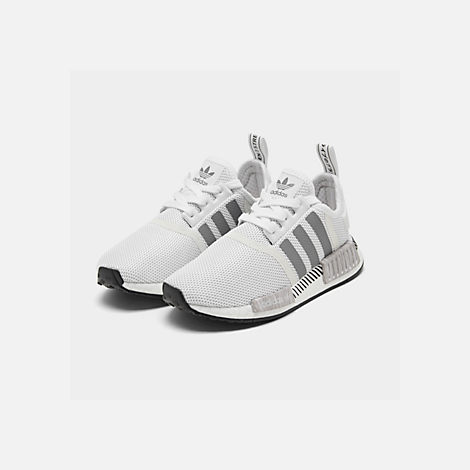 Three Quarter view of Big Kids' adidas NMD Runner Casual Shoes in White/Black/Grey