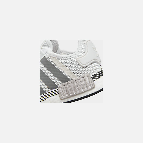 Front view of Big Kids' adidas NMD Runner Casual Shoes in White/Black/Grey