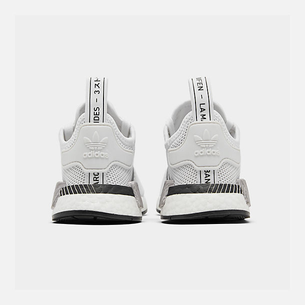 Left view of Big Kids' adidas NMD Runner Casual Shoes in White/Black/Grey
