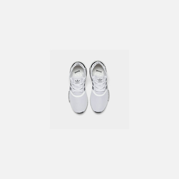 Back view of Big Kids' adidas NMD Runner Casual Shoes in White/Black/Grey
