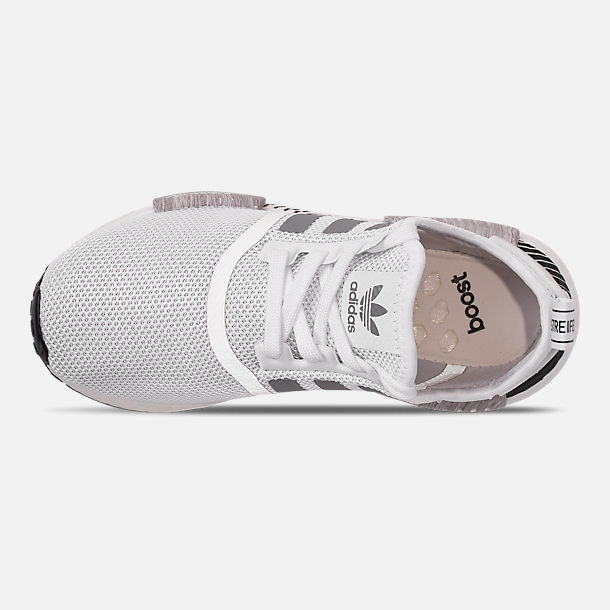 Top view of Big Kids' adidas NMD Runner Casual Shoes in White/Black/Grey