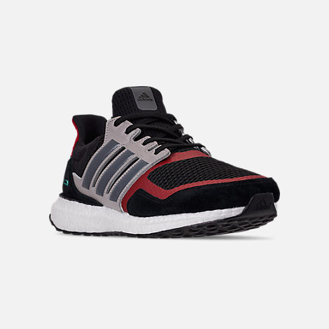 Three Quarter view of Men's adidas UltraBOOST S&L Running Shoes in Core Black/Grey Four/Power Red