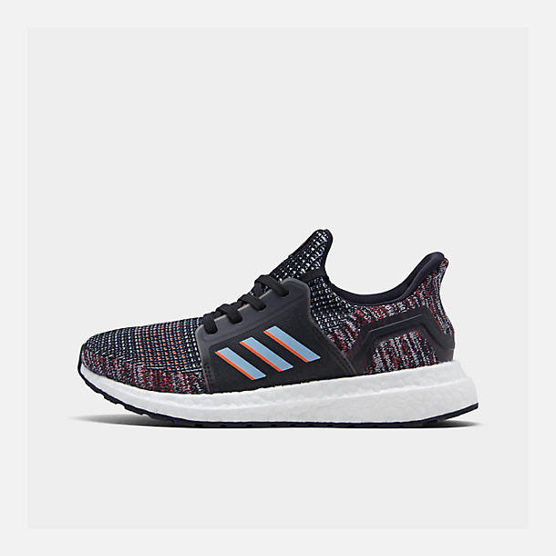Right view of Boys' Little Kids' adidas UltraBOOST 19 Running Shoes in Black/Glow Blue/Core Black