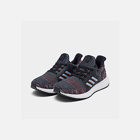Three Quarter view of Boys' Little Kids' adidas UltraBOOST 19 Running Shoes in Black/Glow Blue/Core Black