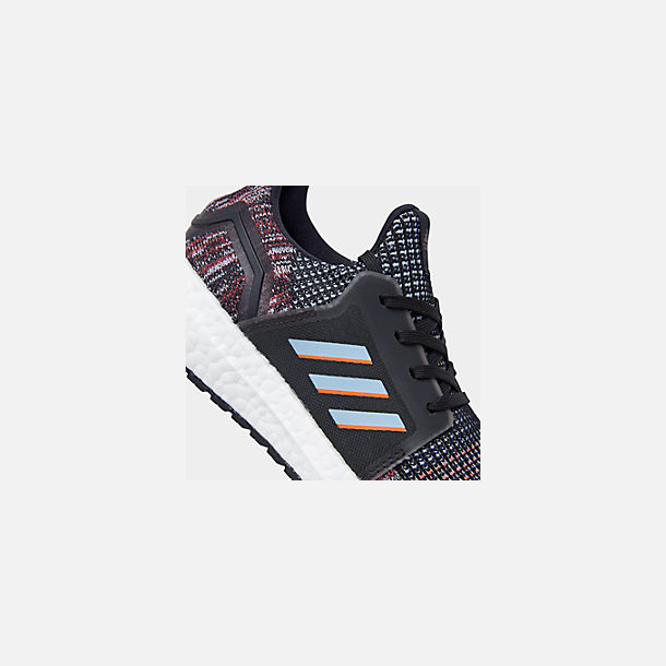 Front view of Boys' Little Kids' adidas UltraBOOST 19 Running Shoes in Black/Glow Blue/Core Black