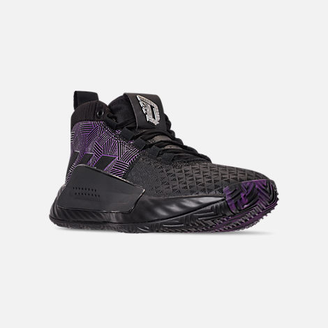 half off 371f9 c0f11 Three Quarter view of Men s adidas Dame 5 X Marvel s Black Panther Basketball  Shoes in Core