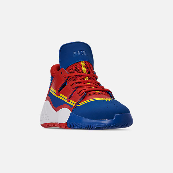 5cbce2420249 Three Quarter view of Men s adidas Pro Vision X Marvel s Captain Marvel Basketball  Shoes in Blue