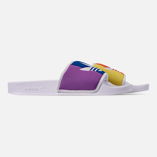 Right view of Men's adidas Adilette Pride Slide Sandals in Footwear White/Orange/Scarlet