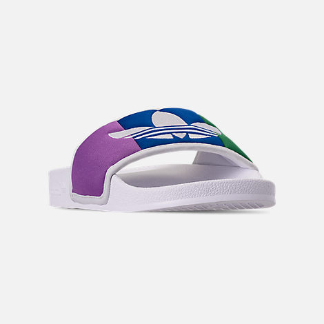 Three Quarter view of Men's adidas Adilette Pride Slide Sandals in Footwear White/Orange/Scarlet