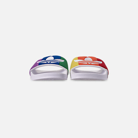 Front view of Men's adidas Adilette Pride Slide Sandals in Footwear White/Orange/Scarlet