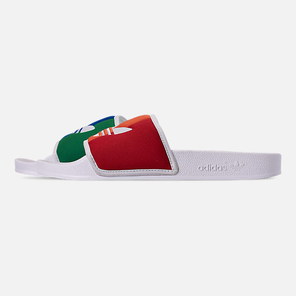 Left view of Men's adidas Adilette Pride Slide Sandals in Footwear White/Orange/Scarlet