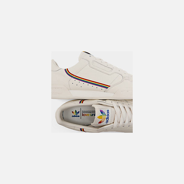 Front view of Men's adidas Originals Continental 80 Pride Casual Shoes in Blue Tint/Blue Tint/Blue Tint