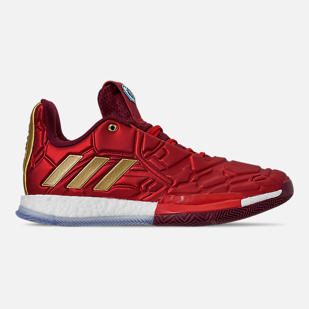 Right view of Men's adidas Harden Vol.3 X Marvel's Iron Man Basketball Shoes in Scarlet/Collegiate Burgundy/Gold