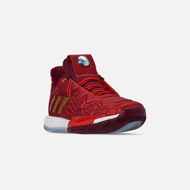 Three Quarter view of Men's adidas Harden Vol.3 X Marvel's Iron Man Basketball Shoes in Scarlet/Collegiate Burgundy/Gold