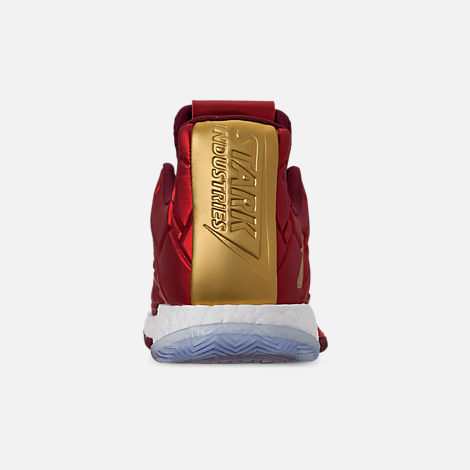 Back view of Men's adidas Harden Vol.3 X Marvel's Iron Man Basketball Shoes in Scarlet/Collegiate Burgundy/Gold