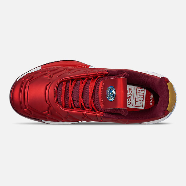 Top view of Men's adidas Harden Vol.3 X Marvel's Iron Man Basketball Shoes in Scarlet/Collegiate Burgundy/Gold