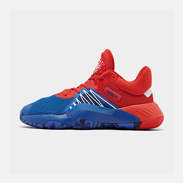 Right view of Men's adidas D.O.N. Issue #1 Basketball Shoes in Blue/Red/Footwear White