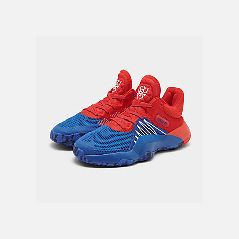Three Quarter view of Men's adidas D.O.N. Issue #1 Basketball Shoes in Blue/Red/Footwear White