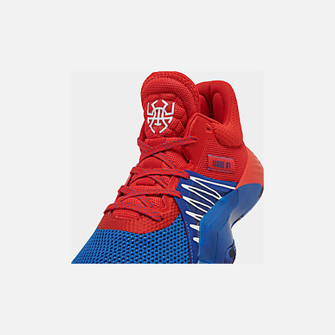 Front view of Men's adidas D.O.N. Issue #1 Basketball Shoes in Blue/Red/Footwear White
