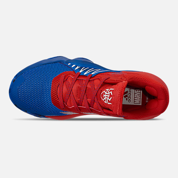 Top view of Men's adidas D.O.N. Issue #1 Basketball Shoes in Blue/Red/Footwear White