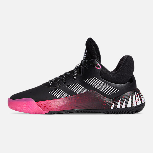 Left view of Men's adidas Symbiote Spider-Man D.O.N. Issue #1 Basketball Shoes in Core Black/Shock Pink/Clour White