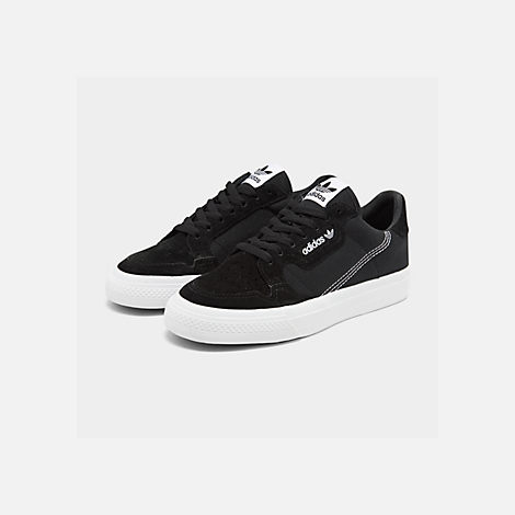 Three Quarter view of Men's adidas Originals Continental Vulc Casual Shoes in Core Black/Footwear White/Core Black