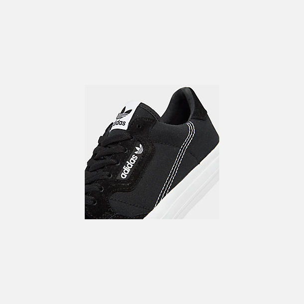 Front view of Men's adidas Originals Continental Vulc Casual Shoes in Core Black/Footwear White/Core Black