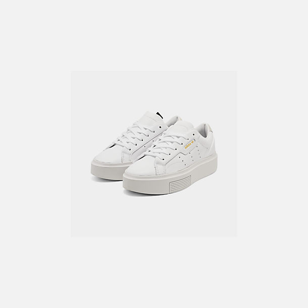 Three Quarter view of Women's adidas Originals Sleek Super Casual Shoes in White/Crystal White/Core Black