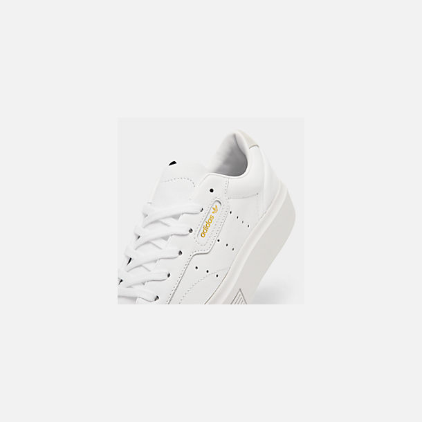 Front view of Women's adidas Originals Sleek Super Casual Shoes in White/Crystal White/Core Black