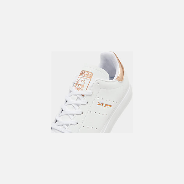 Front view of Big Kids' adidas Originals Stan Smith Vulc Casual Shoes in White/Gold