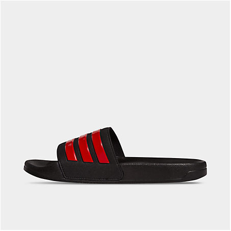 Adidas Men's Essentials Adilette Cloudfoam Slide Sandals In Black/red