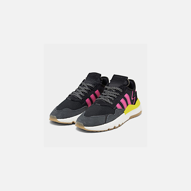 Three Quarter view of Men's adidas Originals Nite Jogger Casual Shoes in Corre Black/Shock Pink/Gum
