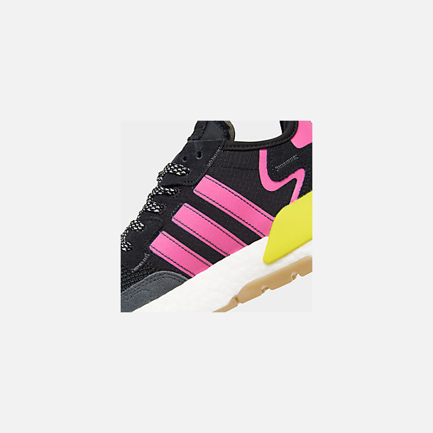 Front view of Men's adidas Originals Nite Jogger Casual Shoes in Corre Black/Shock Pink/Gum