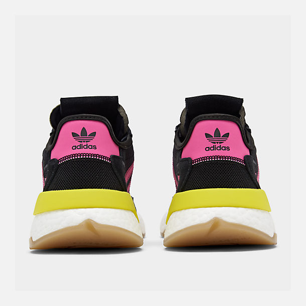 Left view of Men's adidas Originals Nite Jogger Casual Shoes in Corre Black/Shock Pink/Gum