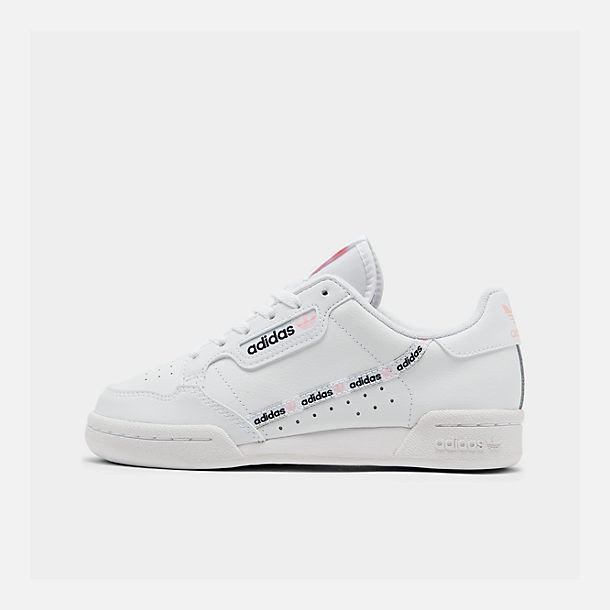 Right view of Girls' Big Kids' adidas Originals Continental 80 Casual Shoes in White/Pink/Mixtape Pack