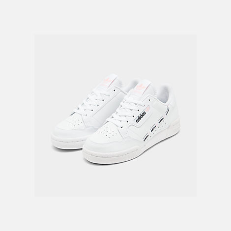 Three Quarter view of Girls' Big Kids' adidas Originals Continental 80 Casual Shoes in White/Pink/Mixtape Pack