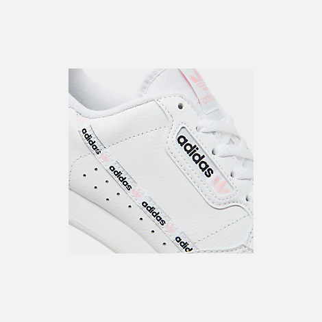 Front view of Girls' Big Kids' adidas Originals Continental 80 Casual Shoes in White/Pink/Mixtape Pack