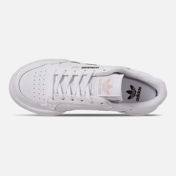 Top view of Girls' Big Kids' adidas Originals Continental 80 Casual Shoes in White/Pink/Mixtape Pack