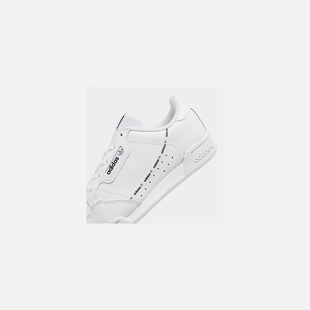 Front view of Little Kids' adidas Originals Continental 80 Casual Shoes in White/Black/Grey Mixtape